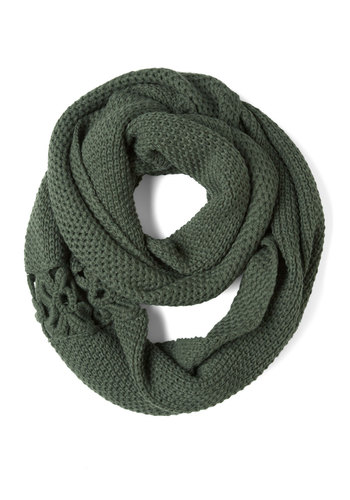 A Shortcut Above Scarf in Green - Green, Solid, Flower, Knitted