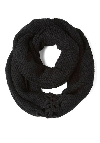 A Shortcut Above Scarf in Black - Black, Flower, Knitted, Winter