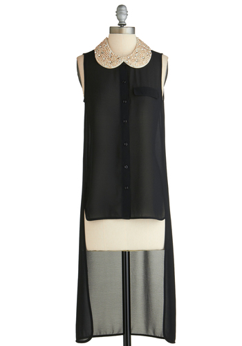 Sample 2269 - Black, Tan / Cream, Beads, Peter Pan Collar, High-Low Hem, Sleeveless