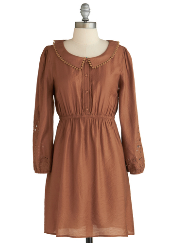 Sample 2236 - Brown, Solid, Buttons, Peter Pan Collar, Trim, Casual, Long Sleeve, Shirt Dress
