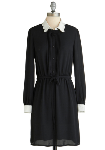 Sample 2245 - Black, White, Solid, Buttons, Shirt Dress, Long Sleeve