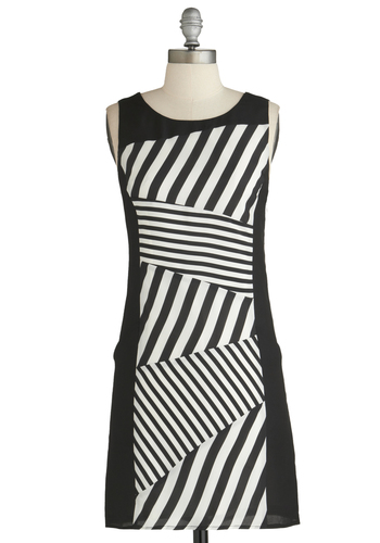 Line Flight Dress - Mid-length, Black, White, Stripes, Pockets, Party, Sheath / Shift, Sleeveless