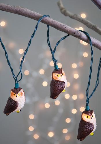 Owl Illuminate the Way Lights - Brown, Dorm Decor, Owls, Tan / Cream, Holiday, Critters, Bird, Woodland Creature, Halloween