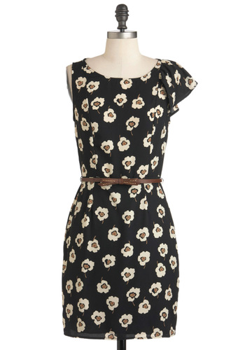 Backstage Dressing Bloom Dress - Mid-length, Black, Brown, White, Floral, Belted, Party, Sheath / Shift, Fall