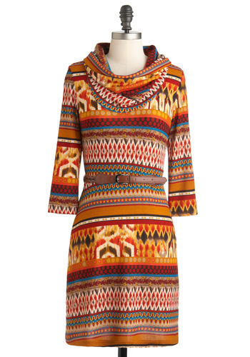 Memories from the Mountains Dress - Mid-length, Multi, Red, Orange, Brown, White, Print, Belted, Casual, Rustic, Sweater Dress, Long Sleeve, Fall, Holiday Sale, Cowl, Winter