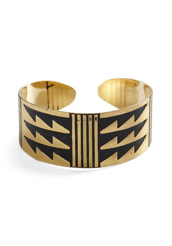 Jagged Edgy Bracelet - Black, Gold, Party, Casual, Urban, Girls Night Out, Steampunk