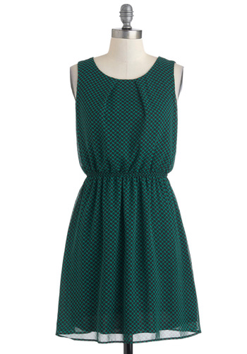 Bluegrass Mondays Dress - Green, Black, Mid-length, Print, Casual, A-line, Sleeveless, Chiffon