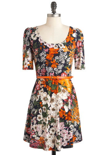Plant by Numbers Dress - Short, Multi, Orange, Green, Blue, White, Floral, Belted, Casual, A-line, Short Sleeves, Fall, Scoop