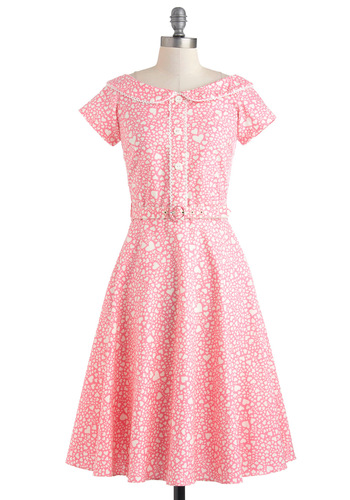 Best of My Love Dress by Bernie Dexter - Pink, White, Novelty Print, Buttons, Belted, Party, Casual, Vintage Inspired, 50s, Fit & Flare, Short Sleeves, Long, Cotton, Sheer, Pastel, Collared, Pinup
