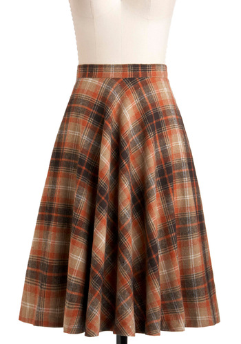 Simple Math Skirt in Orange by Pink Martini - Brown, Orange, Tan / Cream, Plaid, A-line, Work, Casual, Vintage Inspired, Fall, Cotton, Fit & Flare, Long