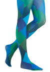 Diamond Dazzle Tights by Look From London - Green, Blue, Print, Party, Statement, Quirky, Novelty Print