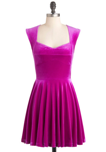 Fuschia-dn't Have Dress by Mink Pink - Short, Pink, Solid, Party, A-line, Cap Sleeves, Neon, Sweetheart