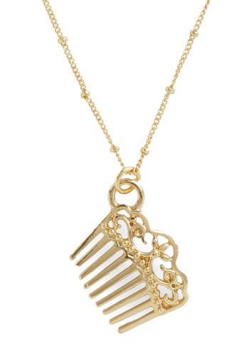 Dream Comb True Necklace - Gold, Party, Casual