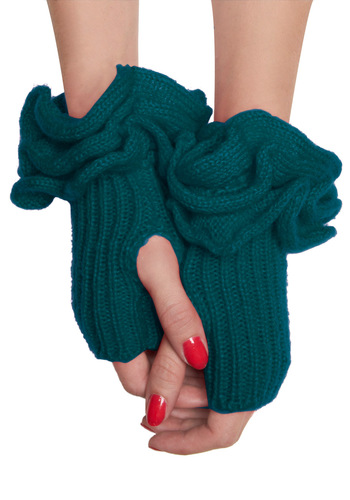 Must Be Ruffle Wrist Warmers in Teal - Green, Solid, Knitted, Ruffles, Winter