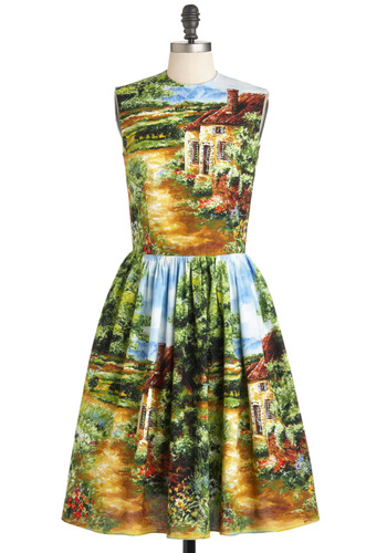 You Cottage My Eye Dress by Bernie Dexter - Multi, Multi, Novelty Print, Cutout, Casual, Vintage Inspired, Sleeveless, Fit & Flare, Long, Cotton, Pockets, Spring, Daytime Party