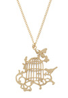 Li'l Birdy and Justice Necklace - Gold, Print with Animals, Casual, Fairytale