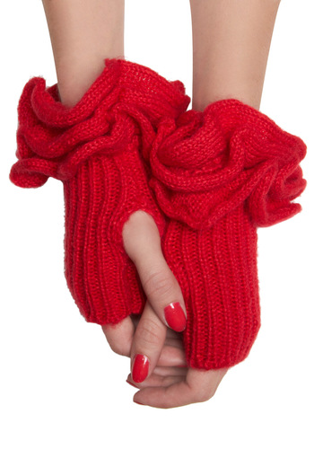 Must Be Ruffle Wrist Warmers in Red - Red, Solid, Knitted, Ruffles, Winter