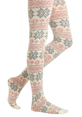 Come Away with Ski Tights - Multi, Red, Blue, Tan / Cream, Novelty Print, Print, Casual, Rustic, Winter, Holiday