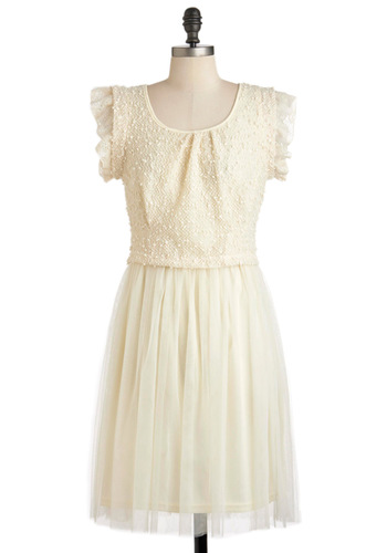 Glad Your Meringue Dress - Cream, Wedding, Party, A-line, Cap Sleeves, Spring, Long, Sheer, Cocktail, Tis the Season Sale