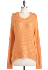 Apricot Ginger Tea Sweater - Orange, Solid, Knitted, Long Sleeve, High-Low Hem, Casual, 90s
