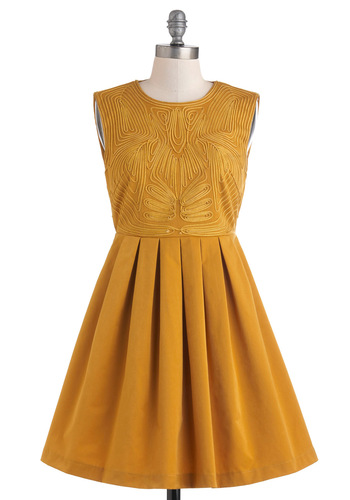Fortune and Frame Dress - Mid-length, Gold, Solid, Cutout, Pleats, Party, Fit & Flare, Sleeveless, Cocktail