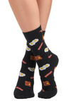 Breakfast in Bread Socks - Black, Multi, Casual, Quirky, Knitted, Top Rated