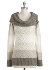 Jen's Tender Love and Wear Sweater in Natural - Grey, White, Stripes, Knitted, Casual, Long Sleeve, Long, Fall, Winter, Cowl, Multi