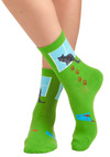 I 'Sill Adore You Socks - Green, Multi, Print with Animals, Novelty Print, Casual, Quirky, Knitted