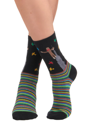 Ruler of the Fort Socks - Black, Multi, Stripes, Print with Animals, Casual, Quirky, Knitted