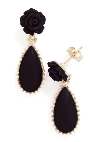 Stylish Genealogy Earrings in Noir - Black, Gold, Flower, Party, Luxe, Variation, 60s, Top Rated