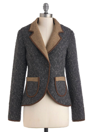 Ivy League of Your Own Jacket by Pink Martini - Mid-length, Grey, Tan / Cream, Buttons, Pockets, Long Sleeve, 2, Brown, Solid, Woven, Casual, Fall