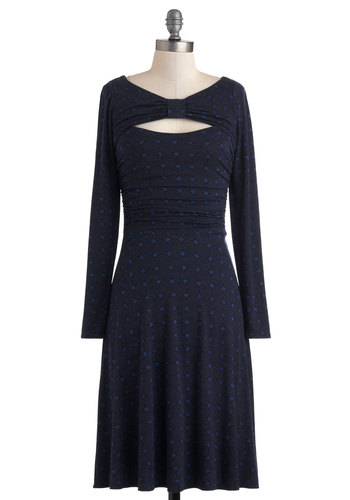 Plenty by Tracy Reese So to Chic Dress by Plenty by Tracy Reese - Long, Blue, Blue, Print, Cutout, Casual, Sheath / Shift, Long Sleeve, Fall, Party, Work, Vintage Inspired, Jersey