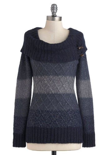 Jen's Tender Love and Wear Sweater in Blue - Blue, Stripes, Knitted, Casual, Long Sleeve, Long, Fall, Winter, Cowl