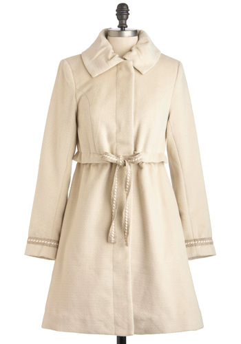 Meet Ewe There Coat - Long, Long Sleeve, 3, Cream, Solid, Belted, A-line, Winter