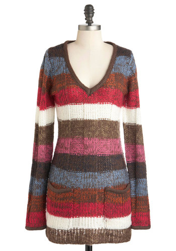 Hot Chocolate Potluck Sweater - Multi, Red, Blue, Pink, Brown, Tan / Cream, Stripes, Knitted, Pockets, Casual, Long Sleeve, Long