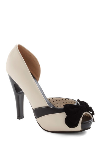 Piece of My Heart Heel - Cream, Black, Bows, Cutout, Party, High, Holiday Party, Vintage Inspired, 40s, Peep Toe, Special Occasion
