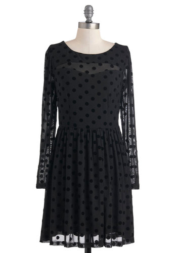 Second Date Darling Dress by Sugarhill Boutique - Mid-length, Black, Polka Dots, Party, A-line, Long Sleeve, Sheer, International Designer