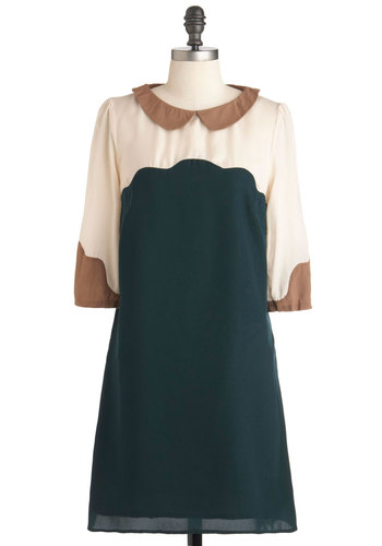 To Fresh Market Dress by Sugarhill Boutique - Mid-length, Green, Brown, Tan / Cream, Peter Pan Collar, Sheath / Shift, 3/4 Sleeve, Fall, Collared, Mod, International Designer