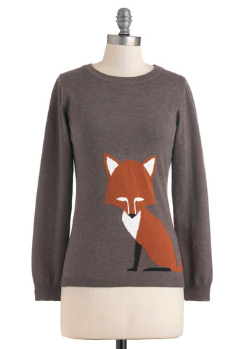 Just the Fox, Ma'am Sweater by Sugarhill Boutique - Mid-length, Grey, Brown, Long Sleeve, International Designer