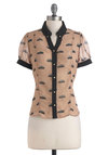 Career Driven Top by Yumi - Mid-length, Tan, Black, Buttons, Short Sleeves, Novelty Print, Quirky, Sheer, Button Down, Collared, V Neck, Work