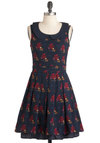 Pretty Pride Dress by Yumi - Blue, Red, Brown, Floral, Print with Animals, Peter Pan Collar, Pleats, Casual, A-line, Sleeveless, Multi, Pink, Scholastic/Collegiate, Collared, Fit & Flare, Mid-length
