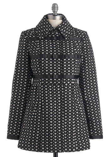Love at First Sigh Coat - Black, White, Bows, Pockets, Long Sleeve, 3, Print, Party, Casual, Long