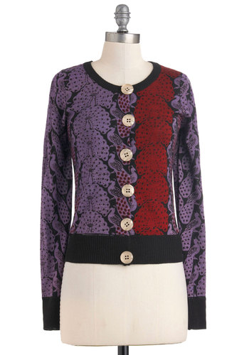 Royal Plume Cardigan by Knitted Dove - Mid-length, Purple, Red, Buttons, Long Sleeve, Black, Print with Animals, Casual, Fall, Button Down