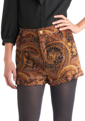 Just Like Jess Shorts by Mink Pink - Multi, Red, Orange, Yellow, Brown, Tan / Cream, Paisley, Pockets, Casual, Vintage Inspired