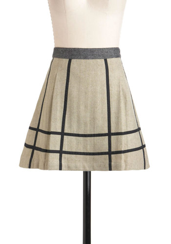 Tweed Between the Lines Skirt by Knitted Dove - Short, Tan, Black, A-line, Herringbone, Casual, Winter, Fit & Flare
