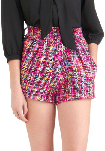 Hierarchy of Tweeds Shorts by Mink Pink - Pink, Black, Multi, Pockets, Print, Casual, Menswear Inspired, High Waist