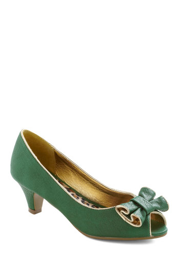 Pecking Border Heel by Bait Footwear - Green, Tan / Cream, Bows, Trim, Mid, Holiday Party, Peep Toe, Tis the Season Sale