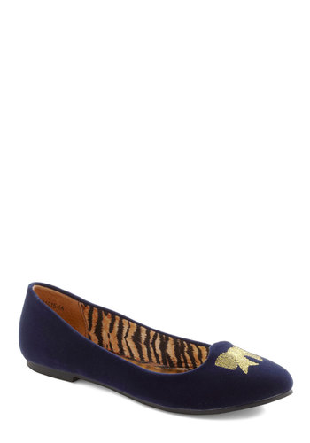 Absolutely Adorn-able Flat by B.A.I.T. Footwear - Blue, Gold, Bows, Casual, Vintage Inspired, Flat, Tis the Season Sale