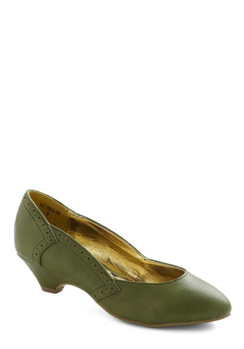Get Into the Grove Heel by Bait Footwear - Green, Solid, Party, Work, Casual, 30s, Fall, Low, Leather