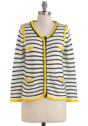Network It Out Cardigan - Mid-length, Cream, Yellow, Blue, Stripes, Buttons, Pockets, Trim, Long Sleeve, Work, Casual, Neon, Button Down, Tis the Season Sale